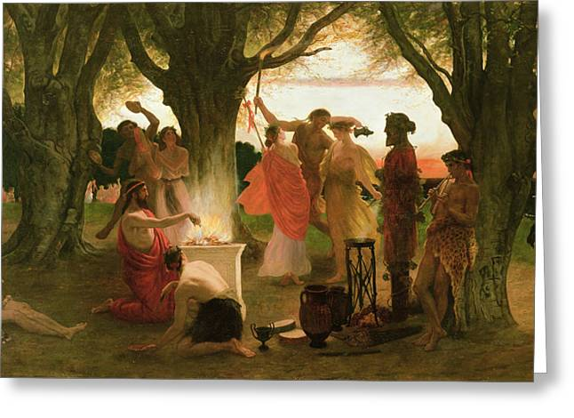 Fire Wood Greeting Cards - A Greek Festival Oil On Canvas Greeting Card by Thomas Ralph Spence