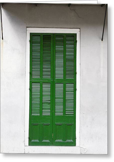 French Quarter Home Greeting Cards - A green door in New Orleans Greeting Card by Christine Till