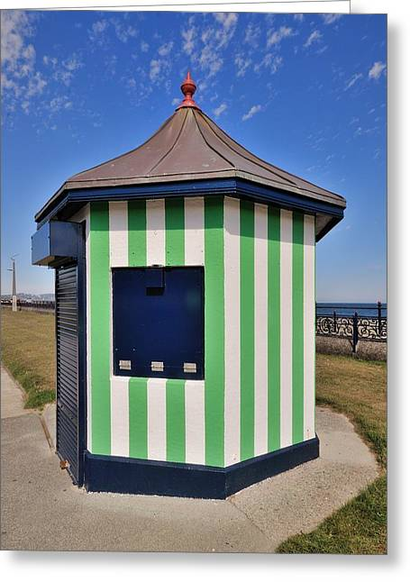 Architectur Greeting Cards - The Green kiosk on the promenade in Bray Ireland Greeting Card by Frazer Ashford