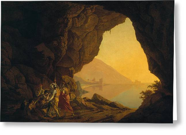 Hiding Greeting Cards - A Grotto In The Kingdom Of Naples, With Banditti, Exh. 1778 Greeting Card by Joseph Wright of Derby