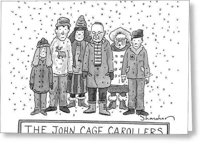 A Group Of Carolers Stands In The Snow Greeting Card by Danny Shanahan