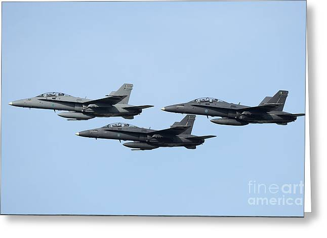 Cooperation Greeting Cards - A Group Of Fa-18 Hornets Of The Royal Greeting Card by Remo Guidi
