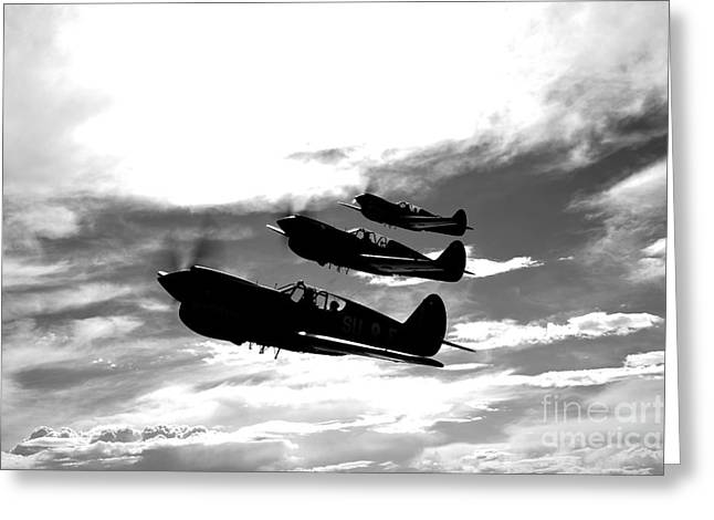 Curtiss Kittyhawk P-40 Greeting Cards - A Group Of P-40 Warhawks Fly Greeting Card by Scott Germain