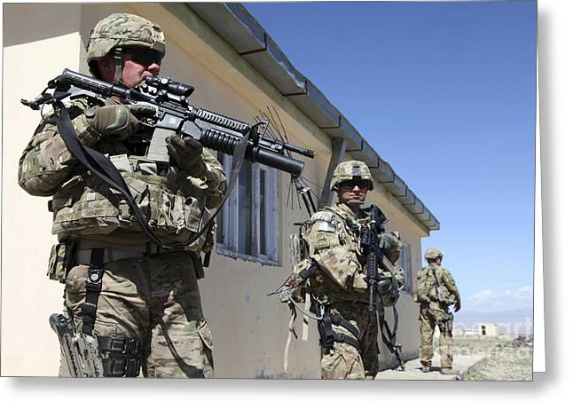 Logar Greeting Cards - A Group Of U.s. Army Soldiers Provide Greeting Card by Stocktrek Images