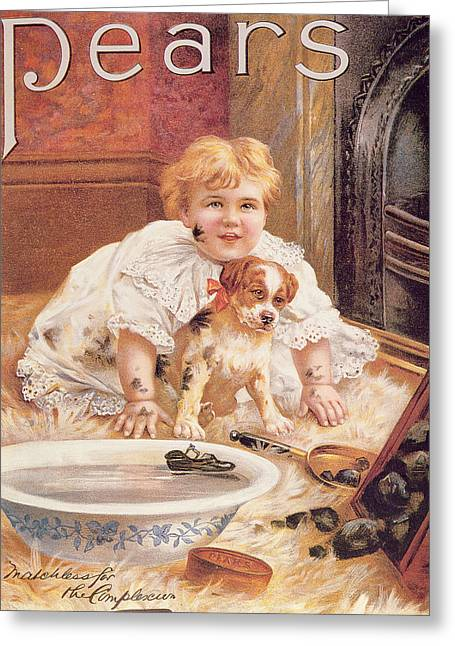 Bathing Greeting Cards - A Guilty Smile Before The Thrashing, From The Pears Annual Greeting Card by English School