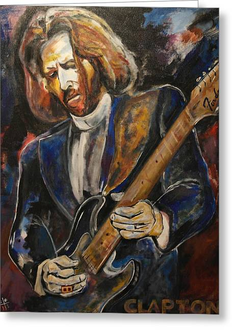 Slowhand Greeting Cards - A Guitar God Speaks Greeting Card by John W Barth