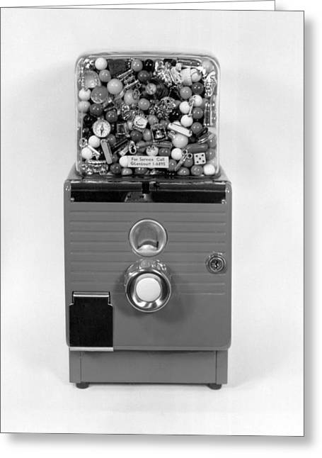 Bubble Gum Gumballs Gumball Machine Greeting Cards - A Gumball Machine Greeting Card by Underwood Archives