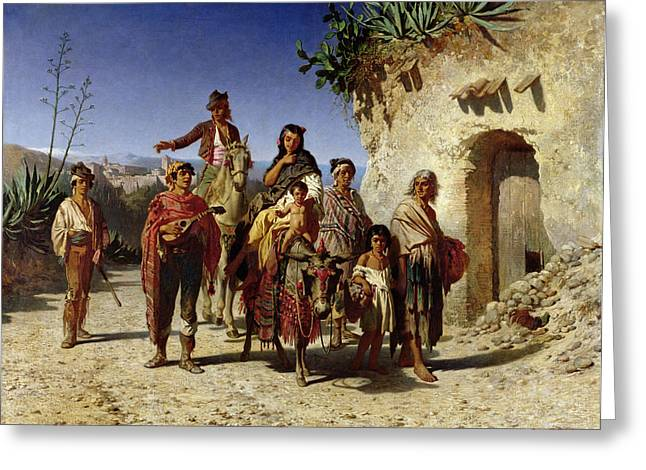 Travelling Greeting Cards - A Gypsy Family On The Road, C.1861 Oil On Canvas Greeting Card by Achille Zo