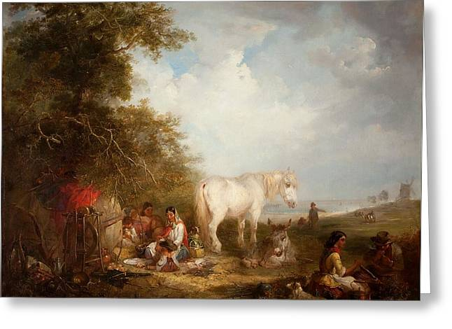 Gypsy Paintings Greeting Cards - A Gypsy Scene Greeting Card by Edward Robert Smythe