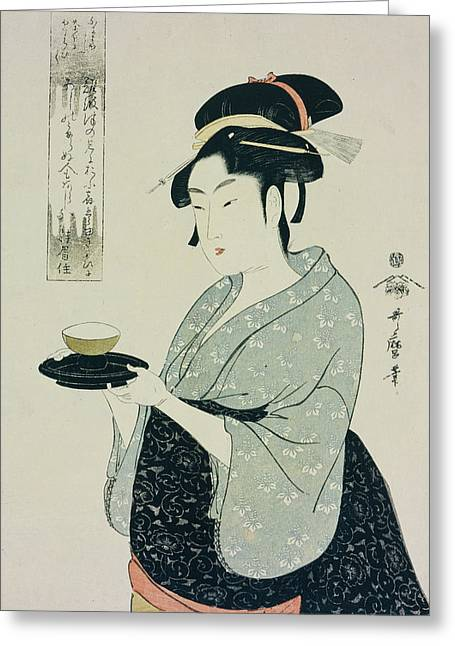 Waitresses Greeting Cards - A Half Length Portrait of Naniwaya Okita Greeting Card by Kitagawa Utamaro