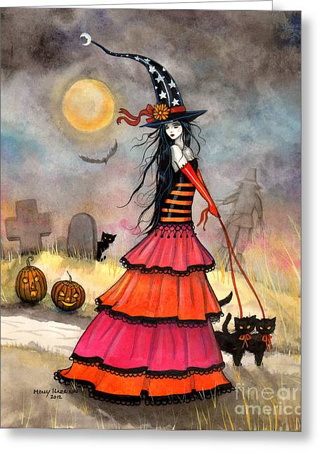 A Halloween Stroll Greeting Card by Molly Harrison