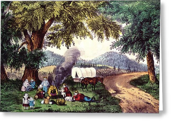 Family Picnic Greeting Cards - A Halt By The Wayside Print Greeting Card by N. Currier