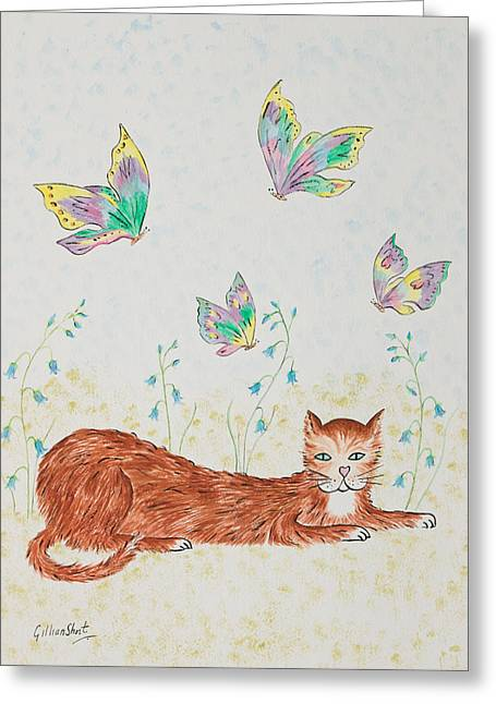 Kitten Prints Greeting Cards - A happy cat Greeting Card by Gillian Short