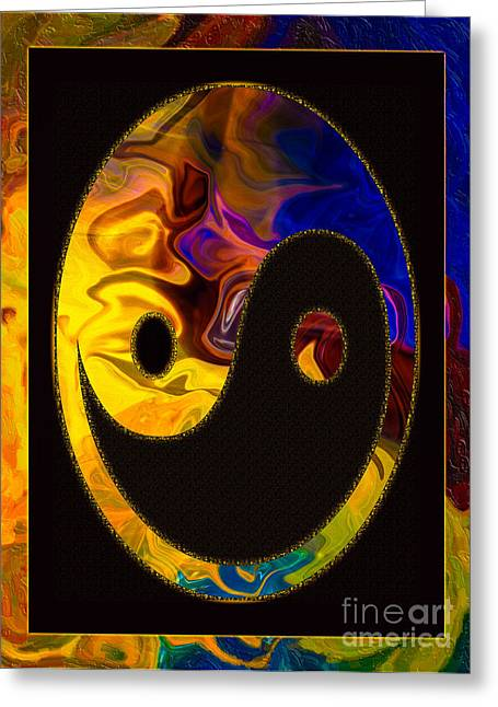 Owfotografik Mixed Media Greeting Cards - A Happy Balance of Energies Abstract Healing Art Greeting Card by Omaste Witkowski