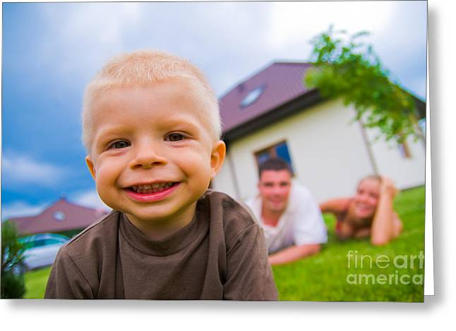 Family Time Greeting Cards - A happy child living a happy life Greeting Card by Michal Bednarek