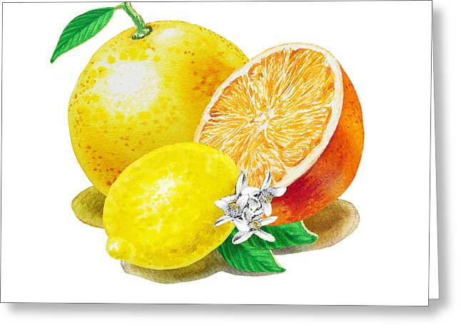 Grapefruit Greeting Cards - A Happy Citrus Bunch Grapefruit Lemon Orange Greeting Card by Irina Sztukowski
