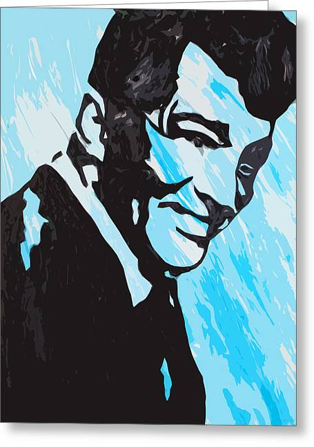 Frank Sinatra Posters Greeting Cards - A Happy Dean Martin Greeting Card by Robert Margetts