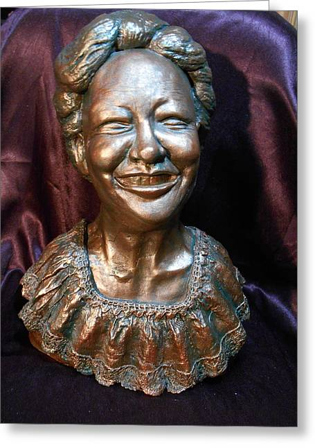 Smile Sculptures Greeting Cards - A Happy Face Greeting Card by Phyllis Dunn
