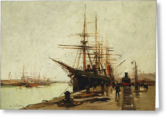 Bollard Greeting Cards - A Harbor Greeting Card by Eugene Galien-Laloue