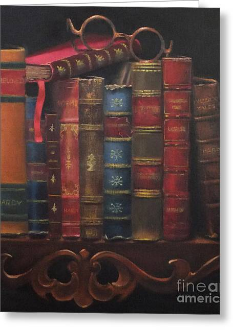 Book Title Paintings Greeting Cards - A Hardy Vignette Greeting Card by Elizabeth Williams