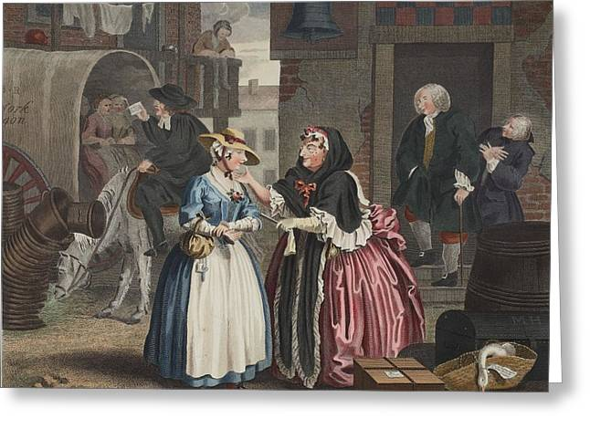 Harsh Conditions Greeting Cards - A Harlots Progress, Plate I Greeting Card by William Hogarth