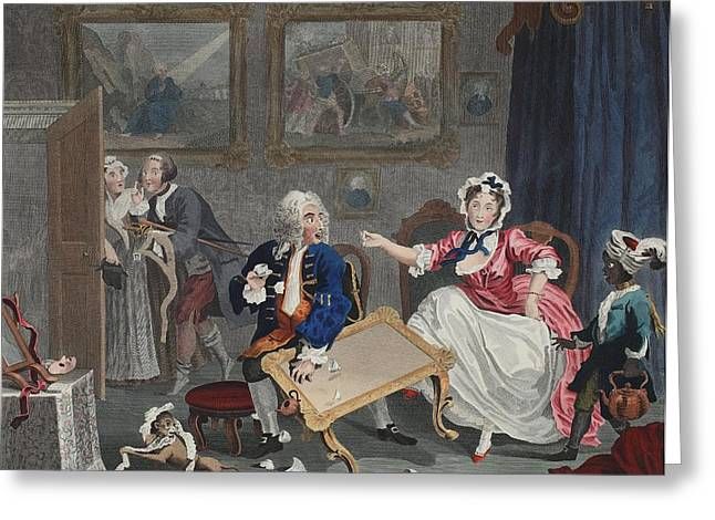 Drawing Room Greeting Cards - A Harlots Progress, Plate Ii Greeting Card by William Hogarth
