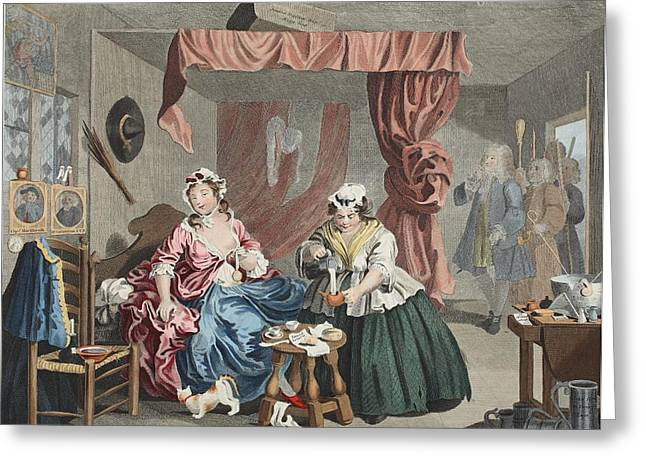 Witches Broom Greeting Cards - A Harlots Progress, Plate Lll Greeting Card by William Hogarth