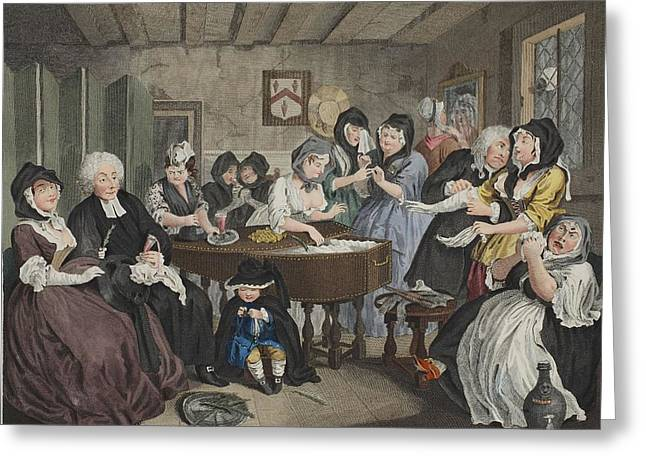 Coffin Greeting Cards - A Harlots Progress, Plate Vi Greeting Card by William Hogarth