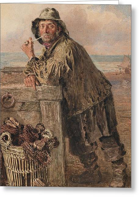 Scruffy Greeting Cards - A Hastings Fisherman Greeting Card by William Henry Hunt