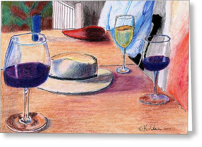 Red Wine Prints Mixed Media Greeting Cards - A Hat and Wine Greeting Card by William Killen