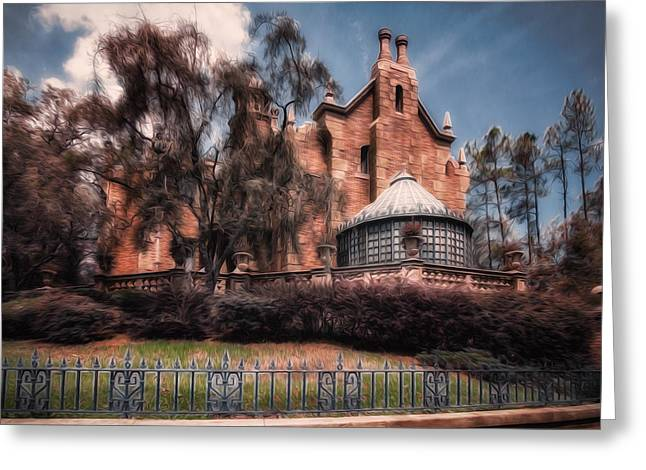 A Haunting House Greeting Card by Joshua Minso