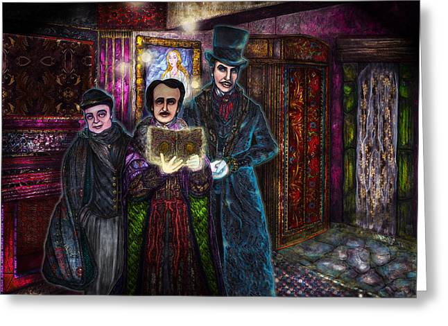 Castle Horror Illustration Greeting Cards - A Haunting of Friends Greeting Card by Lisa Bethan