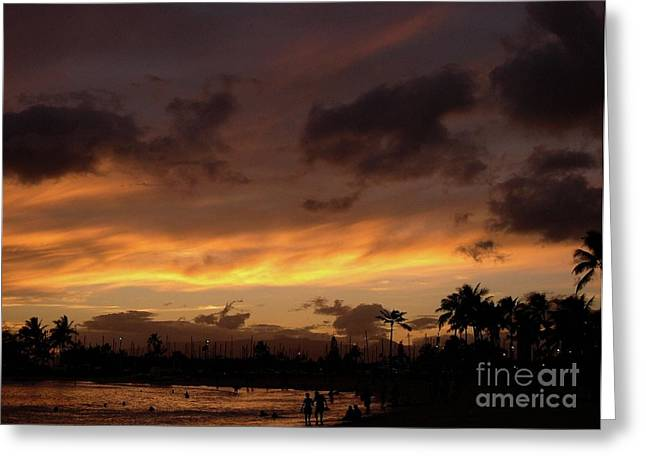 Grey And Pink Greeting Cards - A Hawaiian Sunset Greeting Card by Mel Steinhauer
