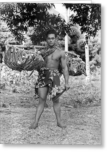 A Hawaiian With Coconuts Greeting Card by Underwood Archives