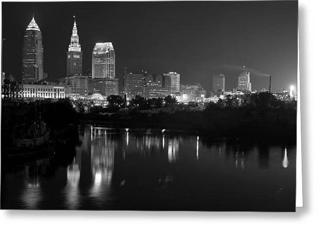 Progressive Field Greeting Cards - A Hazy Cleveland Night at Progressive Field Greeting Card by Clint Buhler