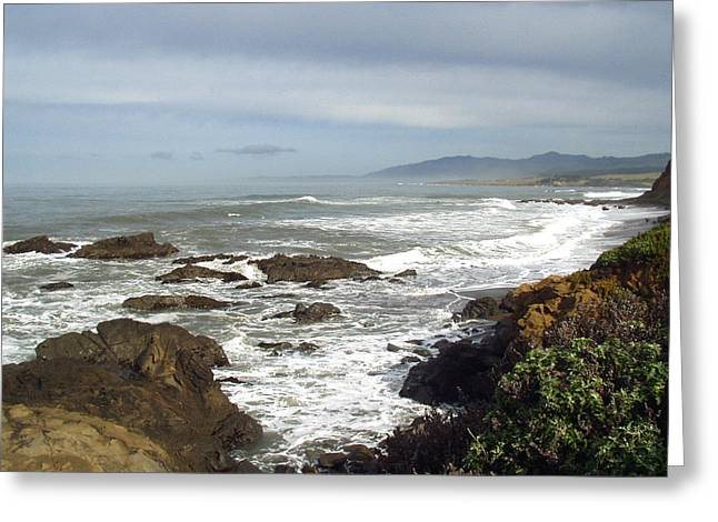 Ocean Scenes Greeting Cards - A Hazy Day In Morro Bay Greeting Card by Barbara Snyder
