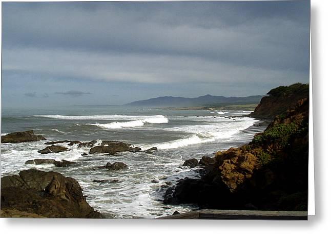 Seaside Digital Greeting Cards - A Hazy Day In Morro Bay II Greeting Card by Barbara Snyder