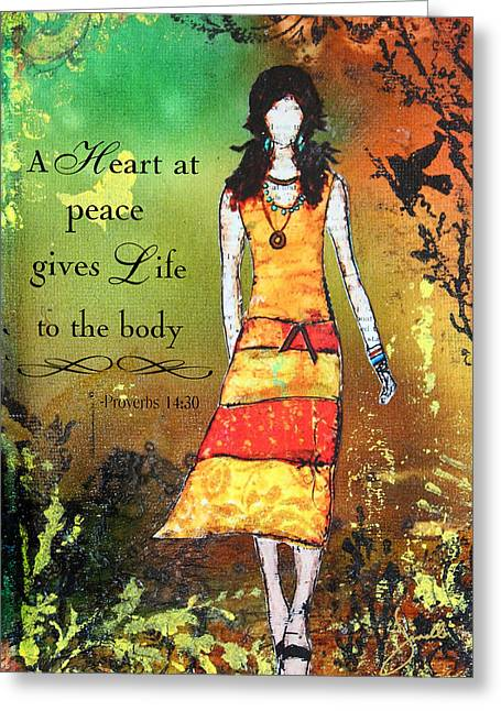Bible Mixed Media Greeting Cards - A Heart At Peace Inspirational Christian artwork with Bible verse Greeting Card by Janelle Nichol