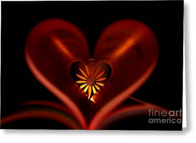 Artwork Tapestries - Textiles Greeting Cards - A heart with flower. Greeting Card by Dipali S