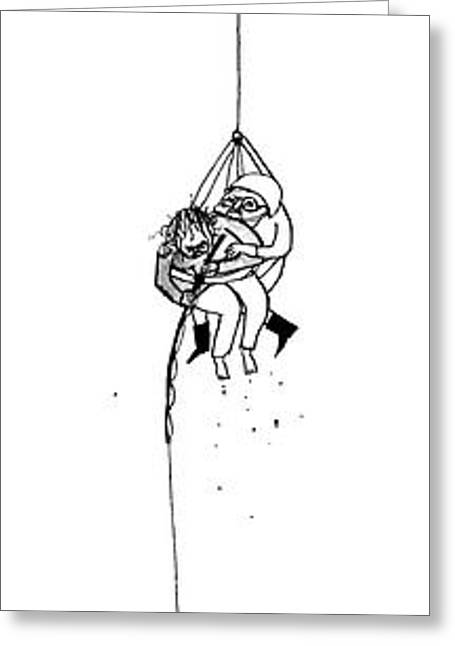 A Helicopter Suspends A Rescuer Who Is Rescuing Greeting Card by Edward Steed