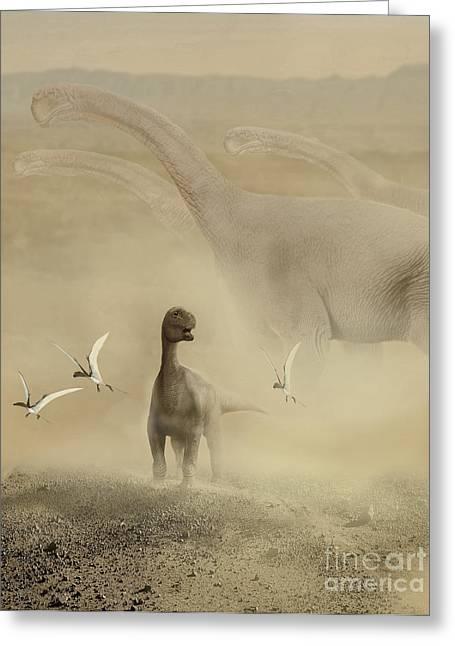 Mix Medium Digital Greeting Cards - A Herd Of Camarasaurus Dinosaurs Greeting Card by Jan Sovak