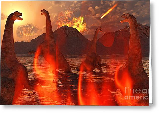 Wildlife Disasters Greeting Cards - A Herd Of Dinosaurs Struggle Greeting Card by Mark Stevenson