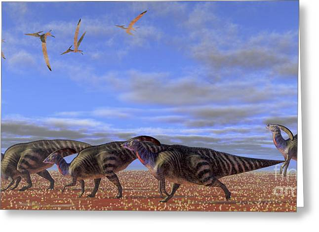 Extinction Of Species Greeting Cards - A Herd Of Parasaurolophus Dinosaurs Greeting Card by Corey Ford