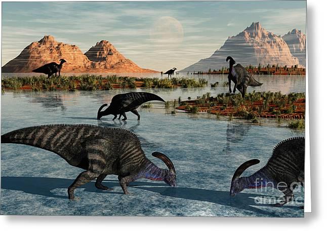 Stream Digital Art Greeting Cards - A Herd Of Parasaurolophus Duckbill Greeting Card by Mark Stevenson