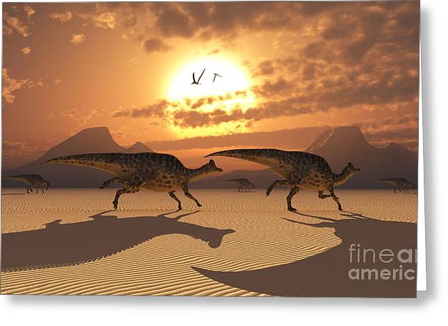 Ripples In The Sand Greeting Cards - A Herd Of Velafrons Hadrosaur Dinosaurs Greeting Card by Mark Stevenson