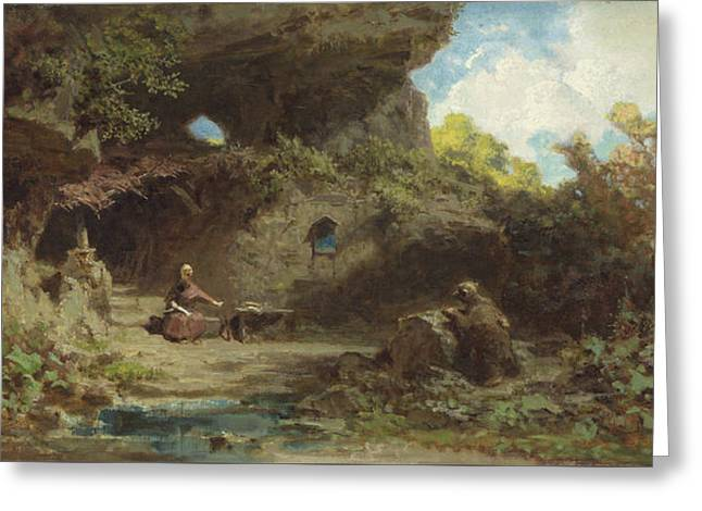 A Hermit In The Mountains Greeting Card by Carl Spitzweg