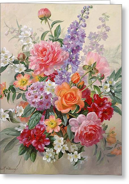Foxglove Flowers Paintings Greeting Cards - A High Summer Bouquet Greeting Card by Albert Williams