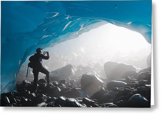 Opening Day Greeting Cards - A Hiker Takes A Photograph Of The Greeting Card by Chris Miller