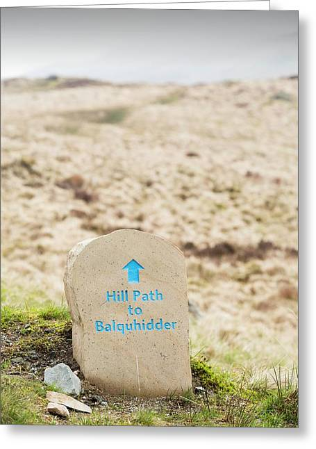 A Hill Path Sign Below Ben Vane Greeting Card by Ashley Cooper