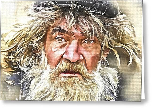 Homeless Man Greeting Cards - A Homeless Man Greeting Card by Yury Malkov